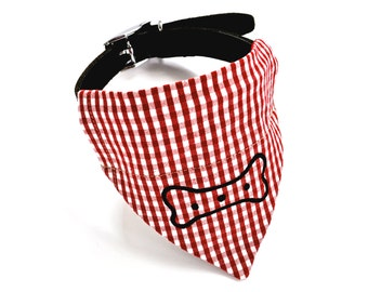 Organic Red Gingham Dog Neckerchief