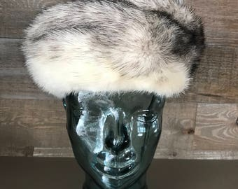 Leopold Mink Fur Hat White and Black Vintage