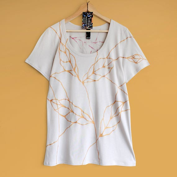 GOLDEN LEAVES t shirt. Womens t-shirt hand painted with line art pattern. Loose fit womens t-shirt.