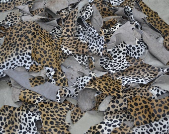 Leather Scrap hair on cowhide 2-3 oz cheetah print 1 pound various sizes TA-12855