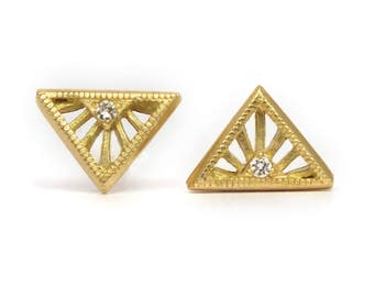 Tiny Art Deco diamond stud earrings - 18k gold Diamond Solitaire Stud Earrings - rose gold studs - tiny diamond studs