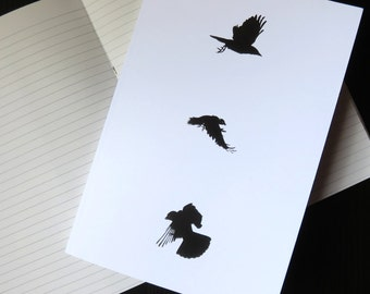 A5 notebook, crow design, crow print, writing paper, crow stationery, crow gift, student gift, writer gift, gothic gift, bird notebook