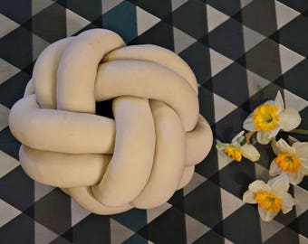 Cream knot cushion - express shipping!