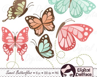 Butterfly Clipart, Butterfly Birthday Party Decor Clip Art, Graphic Downloads