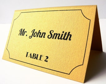 Gold Metallic, Art Deco, Old Hollywood Wedding Place Cards