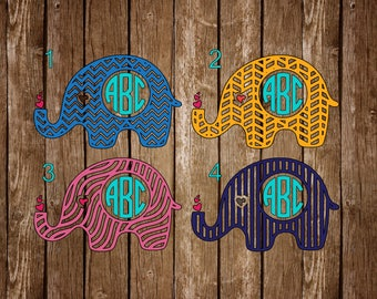 Chevron Elephant Monogram Decal - Elephant Yeti Monogram Decal - Monogram Car Decal - Monogram Cup Decal - Elephant Monogram Car Decal