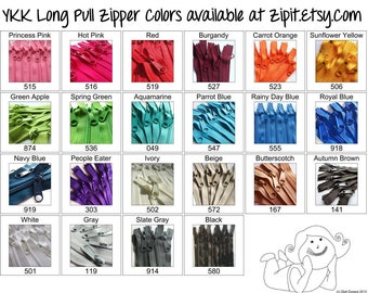 YKK Purse Zippers 4.5mm with a Long Handbag Pulls- You choose colors and size- 10 Zippers- 7,8,9,10,12,14,16,18, or 24 inches