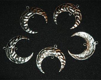 5 charm pendant silver #2485 half-moon connectors charms