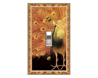 0135X - Colorful Peacock light switch plate cover- mrs butler switchplates - choose sizes / prices from drop down box