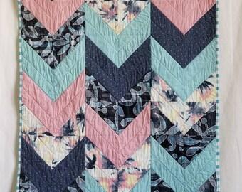 Hawaiian Punch Chevron Baby quilt