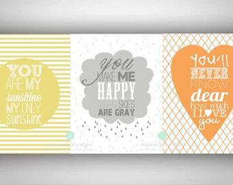 DIY 8x10 You Are My Sunshine Series Wall Printable - Set of 3