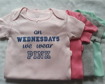 On Wednesdays We Wear Pink Short Sleeve Onesie Bodysuit