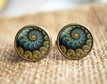 Blue Fractal cuff links,Sacred geometry cuff links, Fractal jewelry, Fibonacci Spiral cuff links,Blue Ratio,