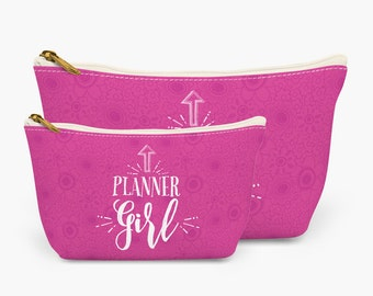 Planner Girl Zipper Pouch   Make-up Bag for Planner Lovers   Organizer for Planner Accessories   Available in 2 sizes   Great gift idea