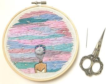 Hand embroidery art. Pop art. Embroidery art.