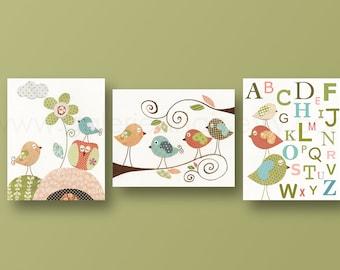 Baby Nursery Art gender neutral Nursery Decor kids wall art kids room decor Owl Nursery alphabet nursery wall art Bird Set of 3 prints