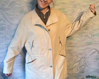 Vintage Beige Parka  Jacket Coat with Lining Country 90s Vintage Womens Plus Size Jacket Extra Large Size Parka