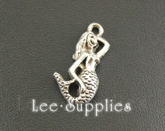 10pcs Antique Silver Alloy Mini Mermaid Charms Pendant A561