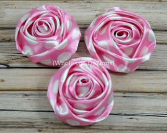 "Light Pink Polka Dot Satin Rolled Rosette Flowers - 2"" - Set of 3 - Light Pink with White Dots"