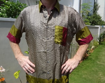 Men's Handmade Sari Silk Button Down Dress Shirt - Prabhu F503