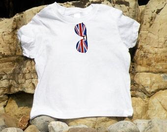 Union Jack British Flag Aviator Sunglass Embroidered Baby Tee
