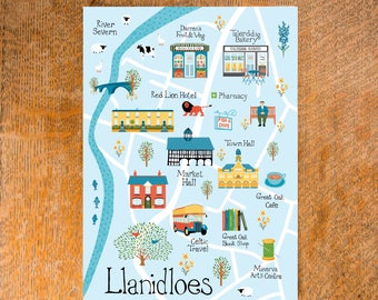 Pack of 5 Llanidloes Postcards, MidWales Postcards, Welsh Postcards