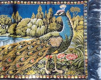 Peacock Bird Rug / Tapistry * Wallhanging * Vintage Decor * Boho Hippie Decorator Piece >