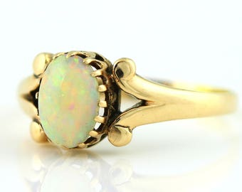 Sweet Antique 9ct Gold Opal Ring -c.1900