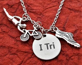 Triathlon Triathlete Jewelry, Runner Swimmer Bicycle Necklace, Triathlete Coach Athlete Gift, I Tri Charm, Run Bike Swim Triathlon Necklace