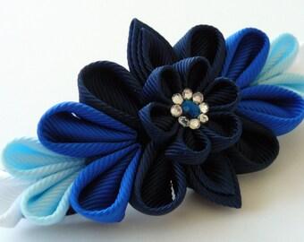 Kanzashi fabric flower french barrette.  Blue kanzashi barrette. Blue flower barrette. Shades of blue.