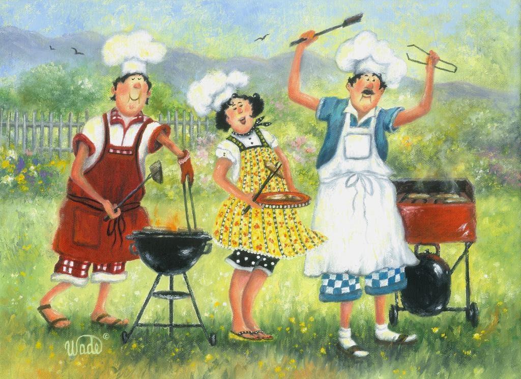 Chefs Art Print fat chefs chef paintings chef art BBQ