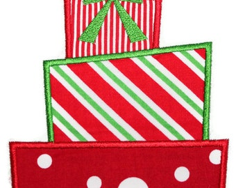 Triple Stacked Presents Machine Embroidery Applique Design