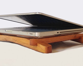 Hashtag, recycled oak wine barrel laptop stand