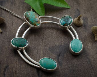 Turquoise Naja Necklace. Evans Turquoise. Hubei Turquoise. Naja Pendant. Silver Turquoise Jewelry. December Birthstone. Birthstone Jewelry.