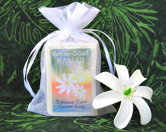 TAHITIAN TIARE SOAP with Coconut Oil, Mango Butter and Glycerin. 4 oz. Made in Hawaii.