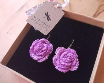 Lilac rose crochet earrings