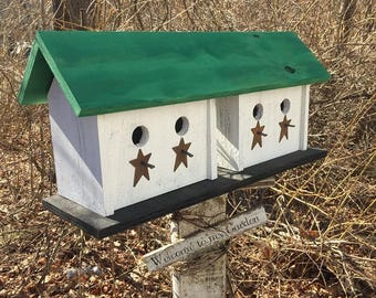 Functional,Handmade,Large Four Hole Compartment Primitive Birdhouse Green White Separate Compartments Primitive Stars