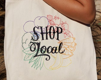 Shop Local Reusable Embroidered Grocery Tote Bag