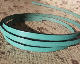 5mm flat green with high quality European leather strap