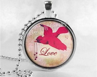 CARDINAL Necklace, Cardinal Bird Necklace, Cardinal Jewelry, Red Bird, Love, Inspirational Word Necklace, Glass Photo Art Necklace, Bird