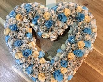 Vintage paper rose heart shaped wreath, handmade, gift, wedding, home.