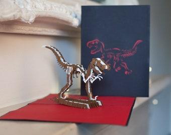 Dinosaur pop up card etsy dinosaur pop up card kids birthday card t rex card handmade pop bookmarktalkfo Images