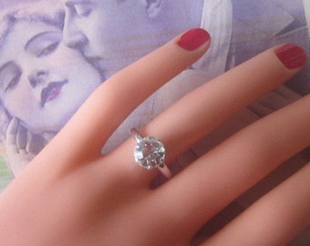 Vintage Silver Ring With Large Rhinestone Solitaire - Size 6 - R-128
