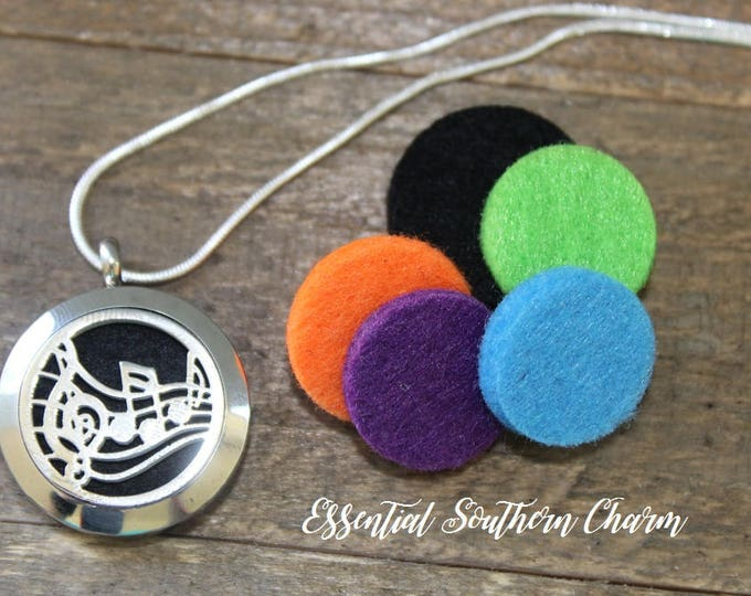 Essential Oil Diffuser Necklace Stainless Steel locket Sterling Silver Music  25mm
