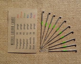 set of 10 triangular felting needles - rainbow color coded 36, 38, 40, 42, mixed gauge - wool roving - needle felting - merino wool - mini