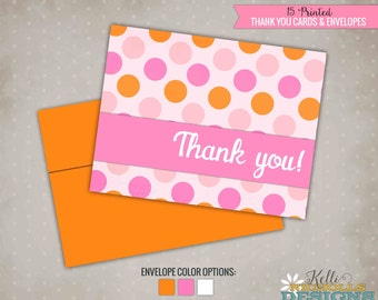 Pink & Orange Polka Dot Thank You Cards, Girls Birthday Thank You Notes, #B110