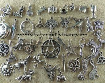 41 x BULK Mixed Pagan Charms, Wholesale Wiccan Silver Pendants Set, Bracelet Charms, Pentagram Moon Goddess Hare Raven, Jewelry Supplies, UK