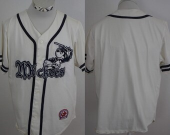 Walt Disney World Mickey Mouse Mickees Embroidered Button-Down Baseball Jersey Size Medium