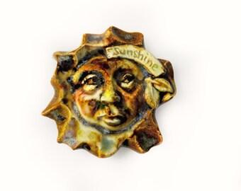 Sun Cabochon - Sun Face - Ceramic cabochon bead, Sun Bead, handmade brown bead, clay bead, OOAK jewelry supplies -necklace bead -   # 32