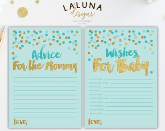 Wishes for Baby Printable, Advice for Mommy To Be Card, Wishes for Baby Cards, Baby Shower Wishes, Baby Shower Printable, Blue And Gold